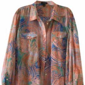 Lauren Jeans Company Coral Multi Blouse 3X